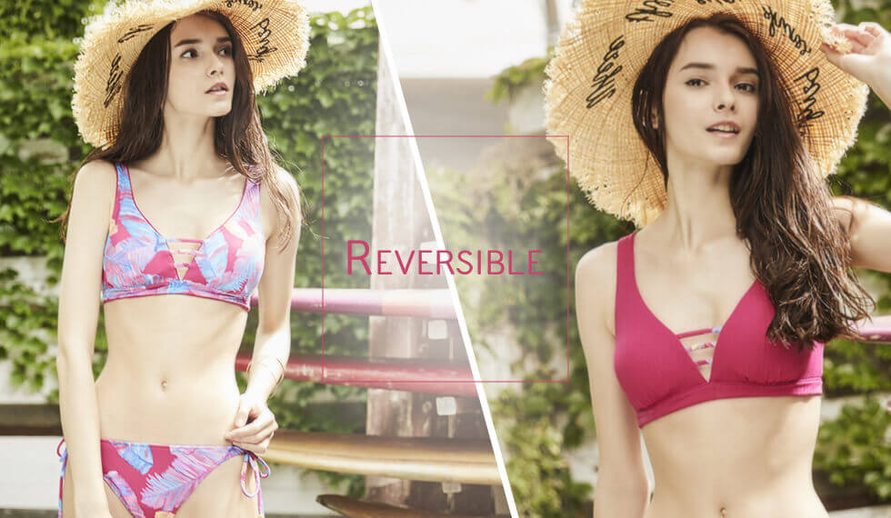 Reversible|【AI Pink】Cheer Leaf×Rib|Reversible shoulder bikini