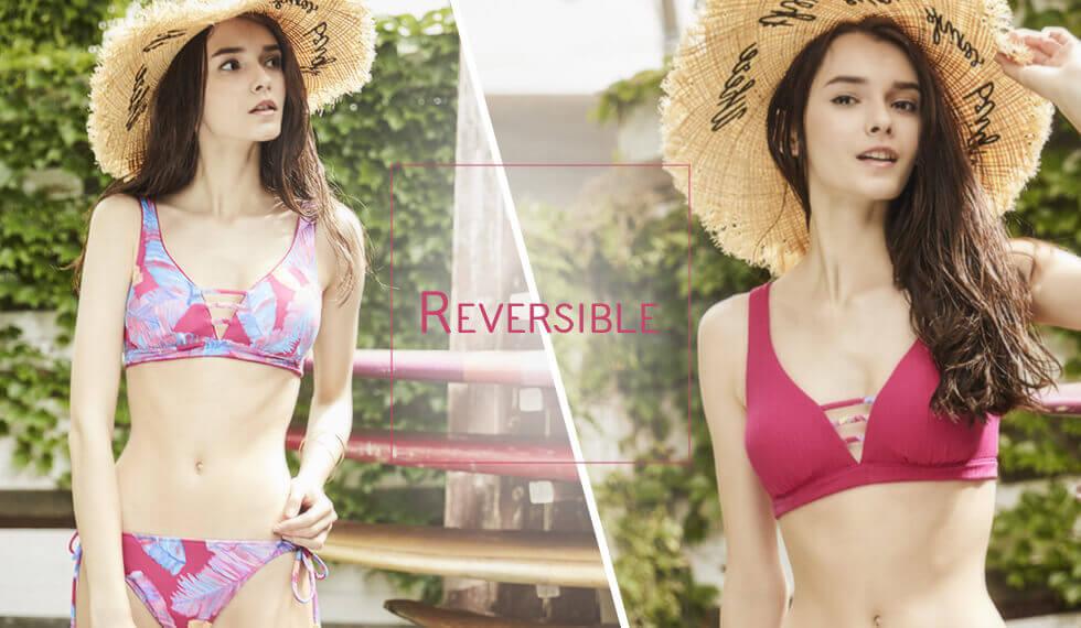 Reversible|【AI Pink】Cheer Leaf×Rib|Reversible shoulder bikini