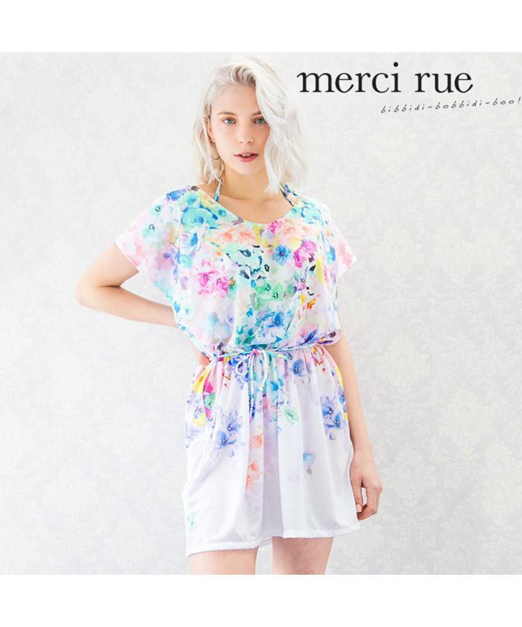 【2018年新作】【merci rue】カラフルフラワー チュニック 3点セット水着 9号
