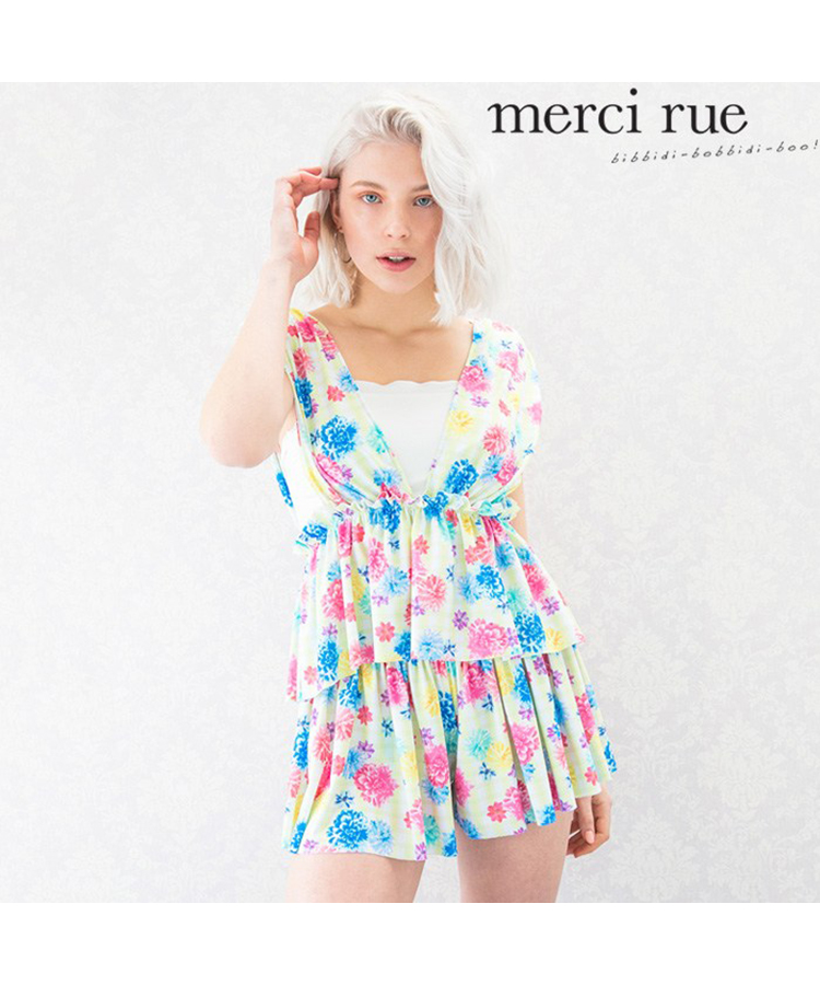 【2018年新作】【merci rue】チェックフラワー カバー 4点セット水着 9号