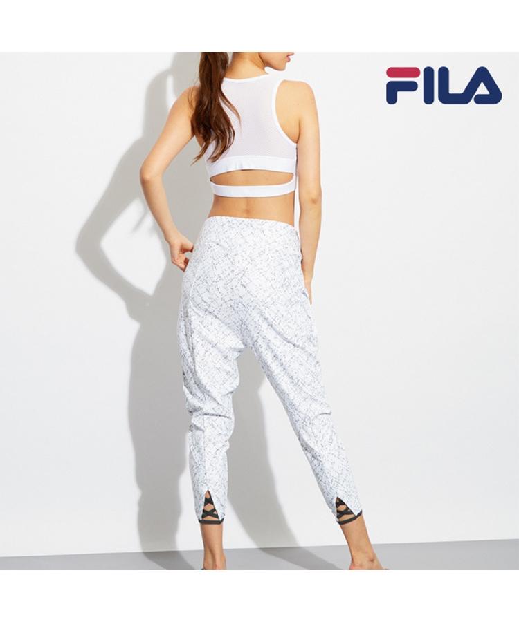 【FILA】裾レースアップ風総柄 タックパンツ S/M/L/LL