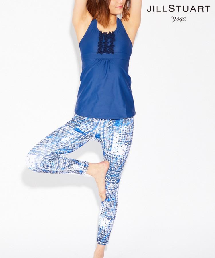 【JILL STUART yoga】胸元フリルカップ付きタンクトップ プリントヨガパンツ 2点セット S/M/L