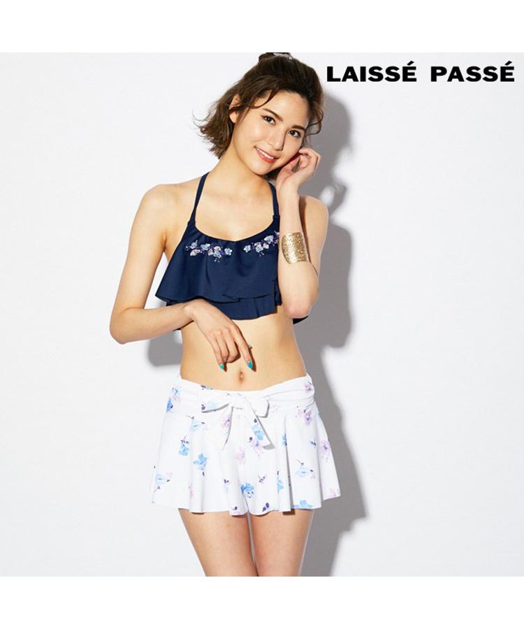 【LAISSE PASSE】ビーズ刺繍 3点セット水着 9号