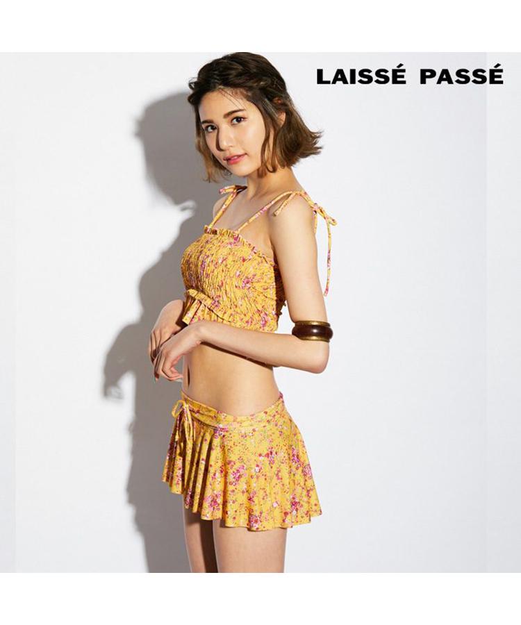 【2018年新作】【LAISSE PASSE】小花柄シャーリング 3点セット水着 9号
