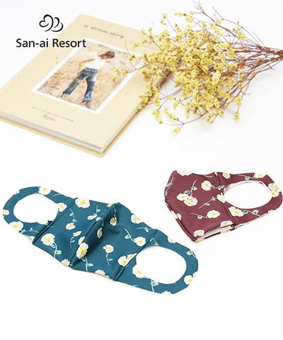 【San-ai Resort】【洗って使える】水着素材フェイスマスク  リバティファブリック M