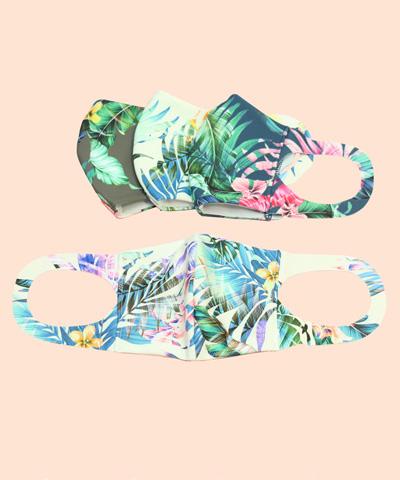 【San-ai Resort】【洗って使える】水着素材 花柄プリント UVカットマスク M