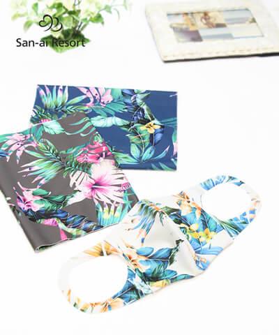【2020年新作】【San-ai Resort】【洗って使える】水着素材 花柄プリント UVカットマスク M <8/19以降順次発送>