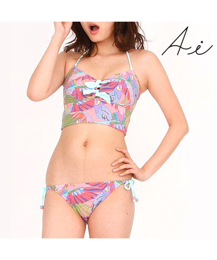 【SALE】【AI Pink】Liz bird鳥モチーフプリント ビスチェビキニ 9号