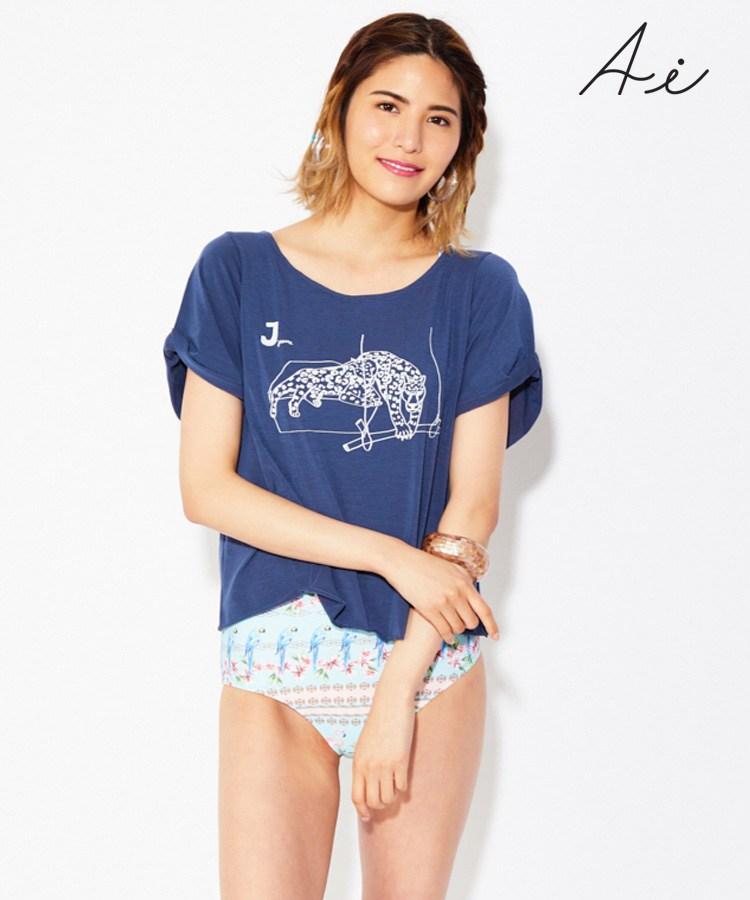 【SALE】 (水着用/リゾートウェア/水陸両用)Jaguar ポリエステル天竺 Tシャツ  M
