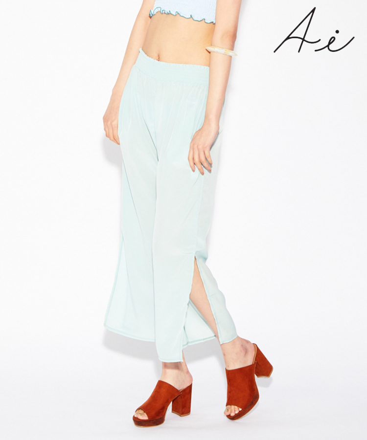 【SALE】 (水着用/リゾートウェア/水陸両用)Soft dechine シャーリングロング パンツ  M