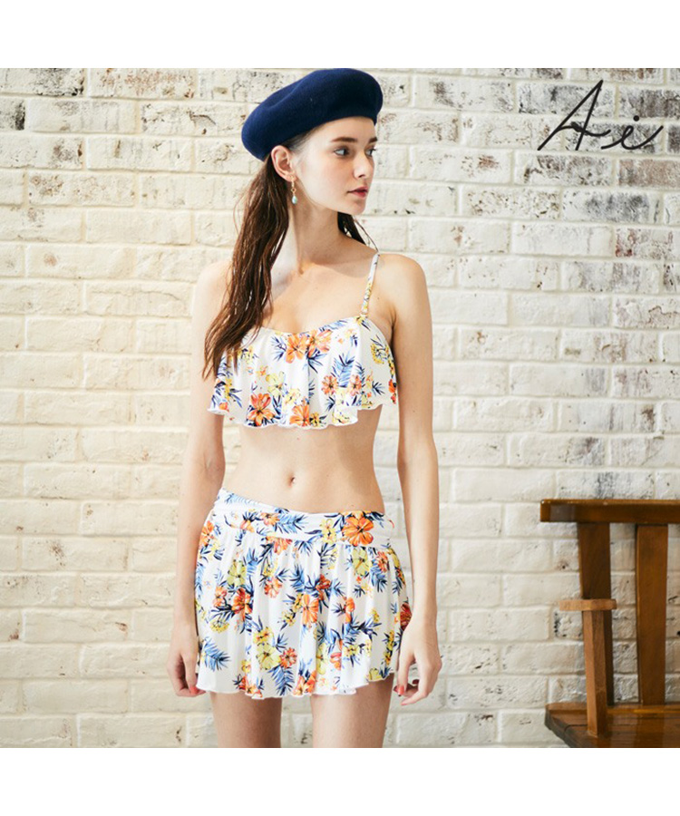 【SALE】 Floral summer フレアワイヤー 3点セット水着 9号