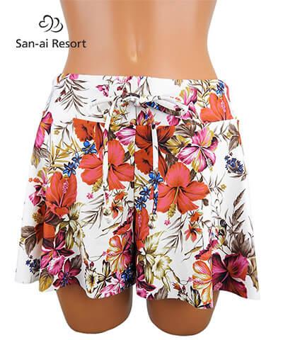 【San-ai Resort】Vintege Flower ショートパンツ M
