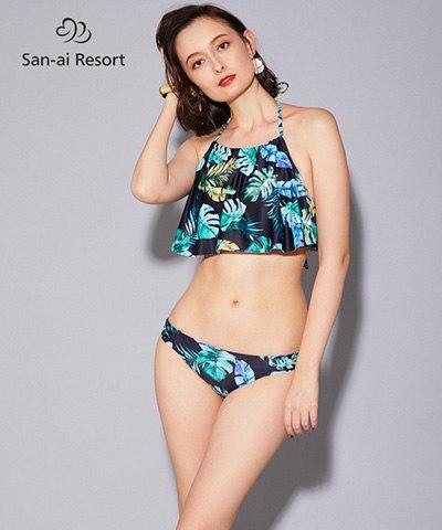 【2020年新作】【San-ai Resort】ハイネックフレア ノンワイヤービキニ 9号