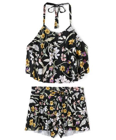 【San-ai Resort】Primavera Liberty Fabric フレアハイネック 3点セット水着 9号