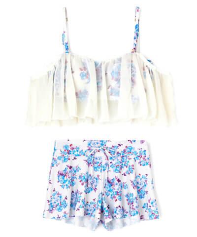 【San-ai Resort】Floralオフショルダー ボトム付 3点セット水着 9号