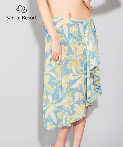 【2020年新作】【San-ai Resort】Line tropical パレオ単品 F