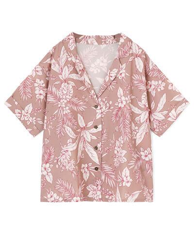 【San-ai Resort】トロピカルプリント 半袖シャツ M