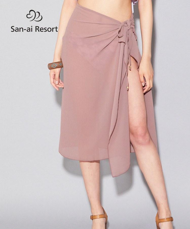 【2020年新作】【San-ai Resort】ニュアンスカラーで肌馴染みの良いシフォン素材  パレオ F