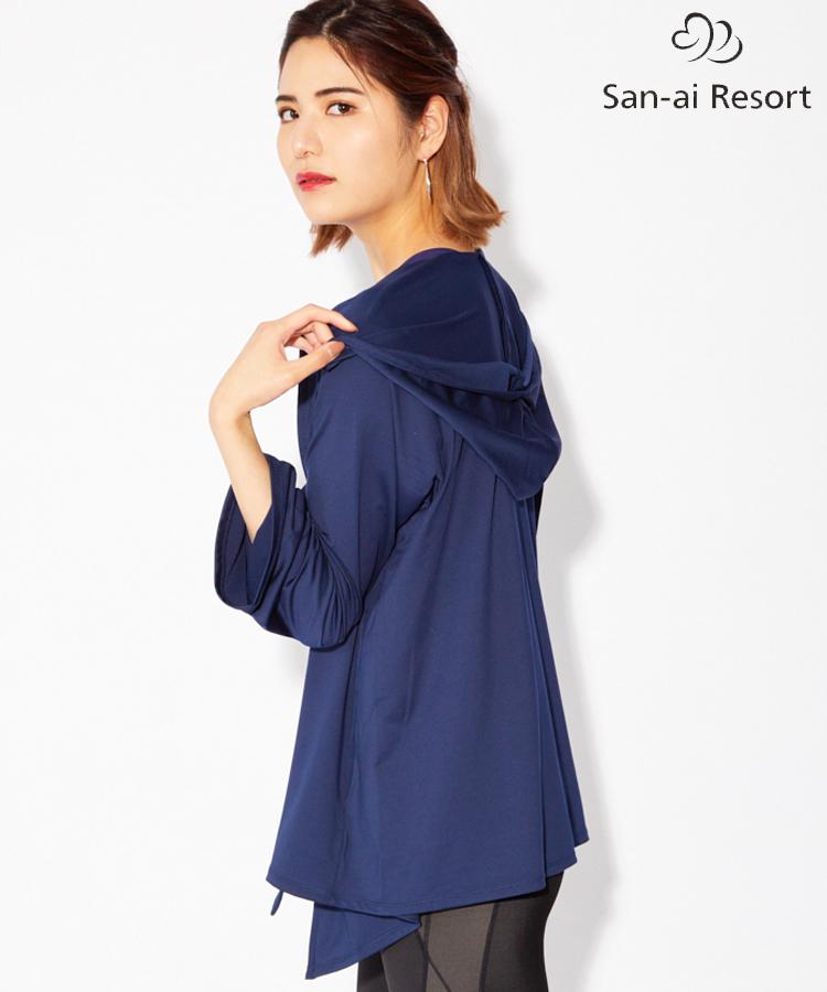 【San-ai Resort】UPF50+ ビッグフードセーラーカラー 羽織 M