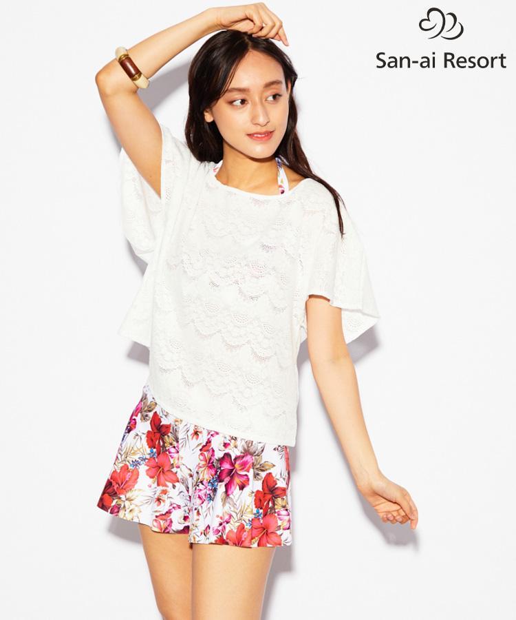 【2019年新作】【San-ai Resort】ストレッチレース×Vintage Flower サイドギャザーワイヤー 4点セット水着 9号/11号