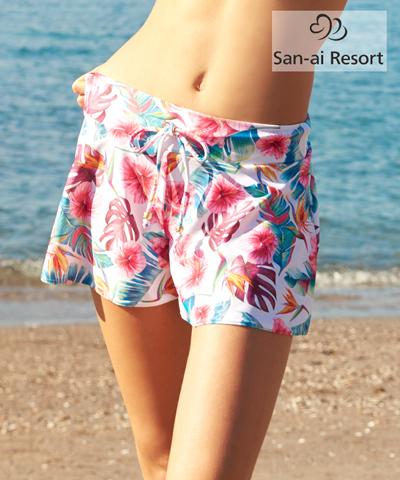【SALE】【San-ai Resort】Tropical Paintキュロット パンツ M