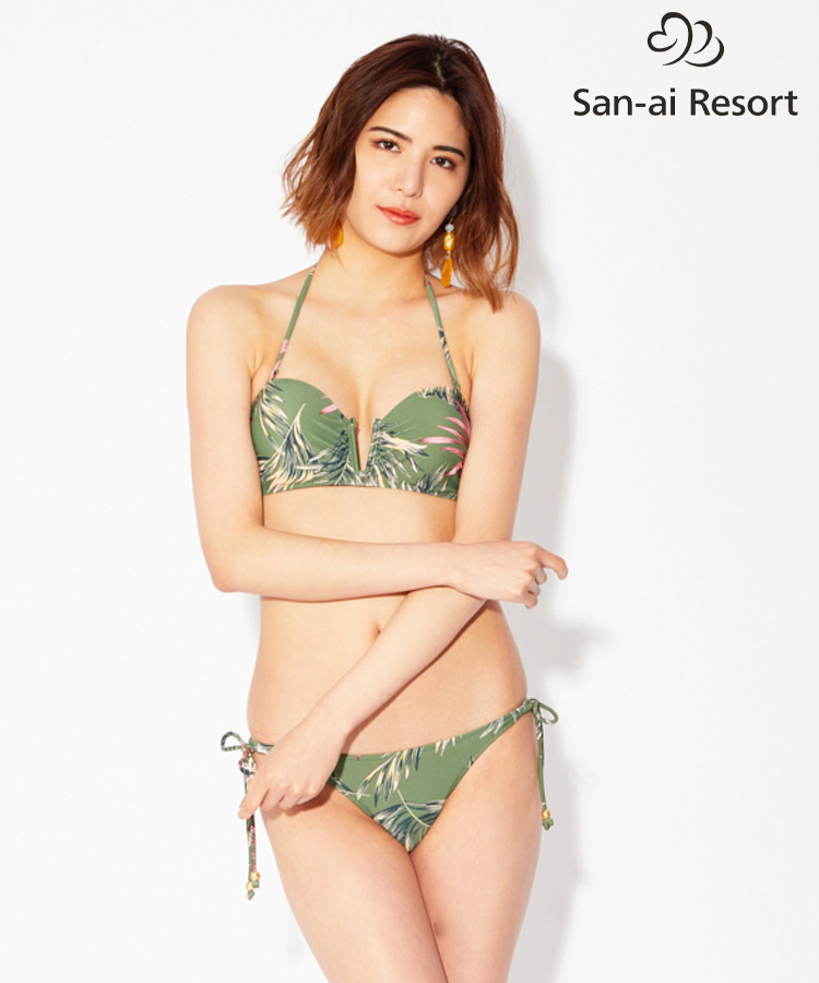 【San-ai Resort】Leaf インサイドワイヤーバンドゥ ビキニ 9号
