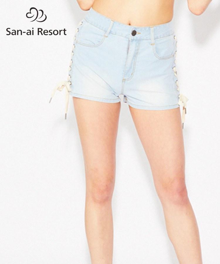 【2019年新作】【San-ai Resort】編み上げデニム パンツ S/M/L