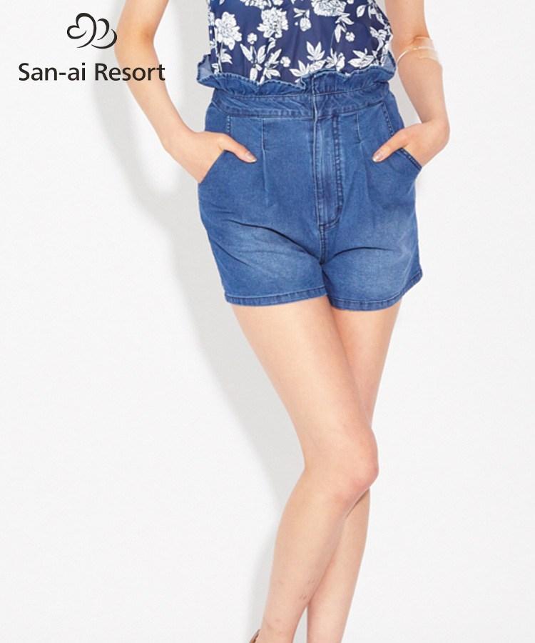 【SALE】【San-ai Resort】ハイウエストビーチデニム パンツ S/M/L