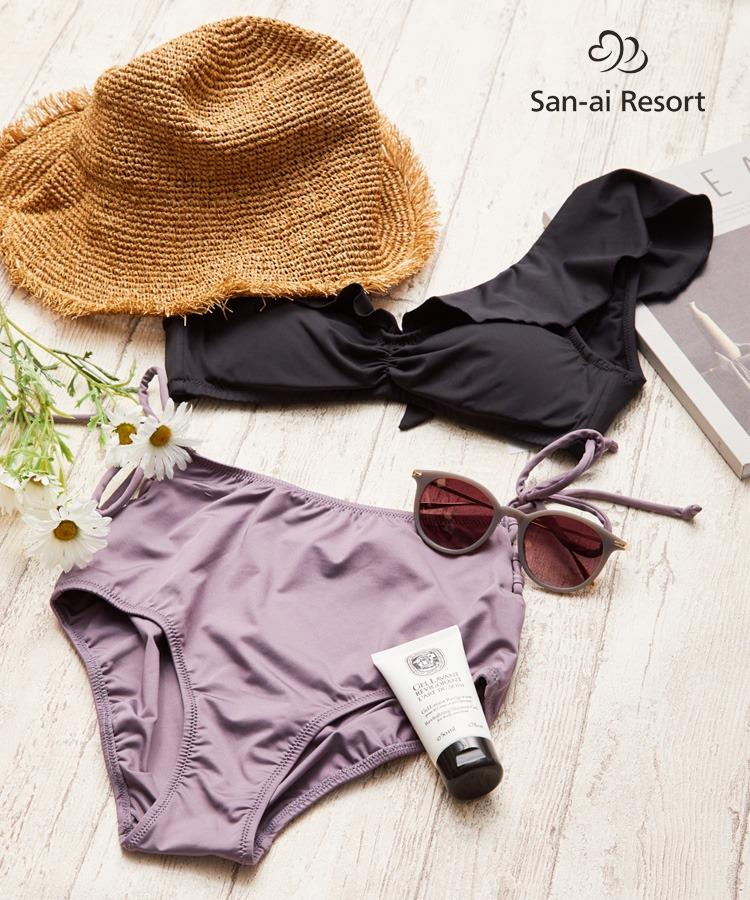 【San-ai Resort】(上下別売り)Solid ハイウエスト ショーツ M/L