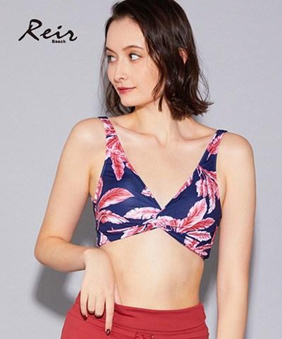 【Reir Beach】(上下別売り)ストライプ柄&チョークアート柄 ツイスト ビスチェ単品 M