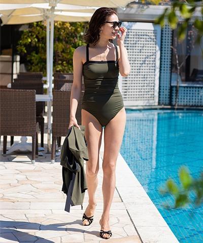 【Reir Beach】JERSEY LOMELLINA Neir 巾着・付け替えストラップ付き ワンピース水着 SM/ML
