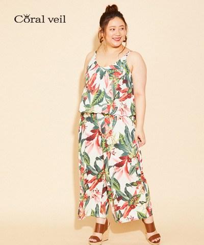 【2020年新作】【Coral veil】Lily Garden ガウチョ 3点セット 13号/15号