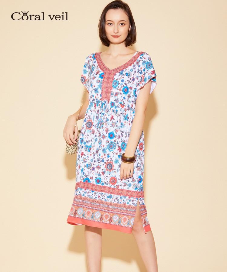 【Coral veil】Sarasa Scarf パネルドレス ワンピ3点セット 9号/11号