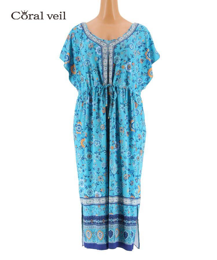 【Coral veil】Sarasa Scarf パネルドレス ワンピ3点セット 13号
