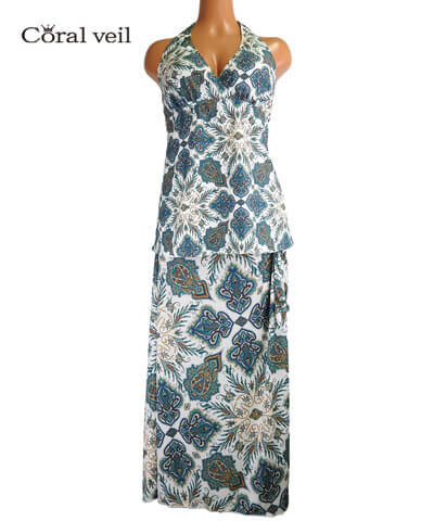 【Coral veil】Lady Paisley(Liberty Fabric) ドレス3点セット 水着 13L/15L