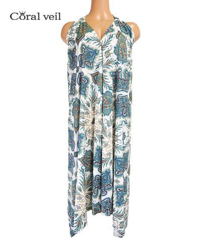 【Coral veil】Lady Paisley(Liberty Fabric)  ドレスワンピース F