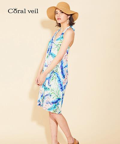 【Coral veil】Mix Leaf パレオワンピース 3点セット 9号/11号