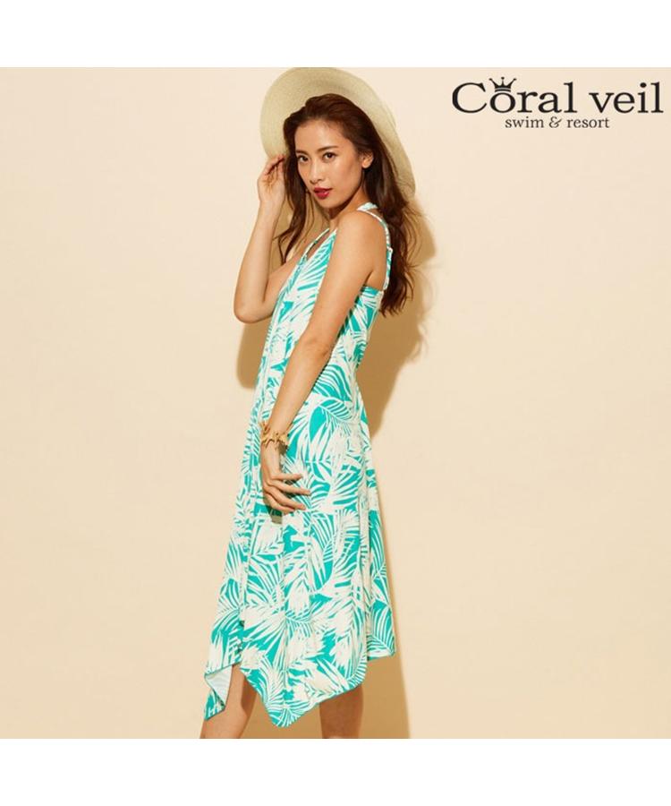 f1825035aaf261 Coral veil】Leaf shadow タンキニ マキシワンピース 3点セット水着 9号 ...