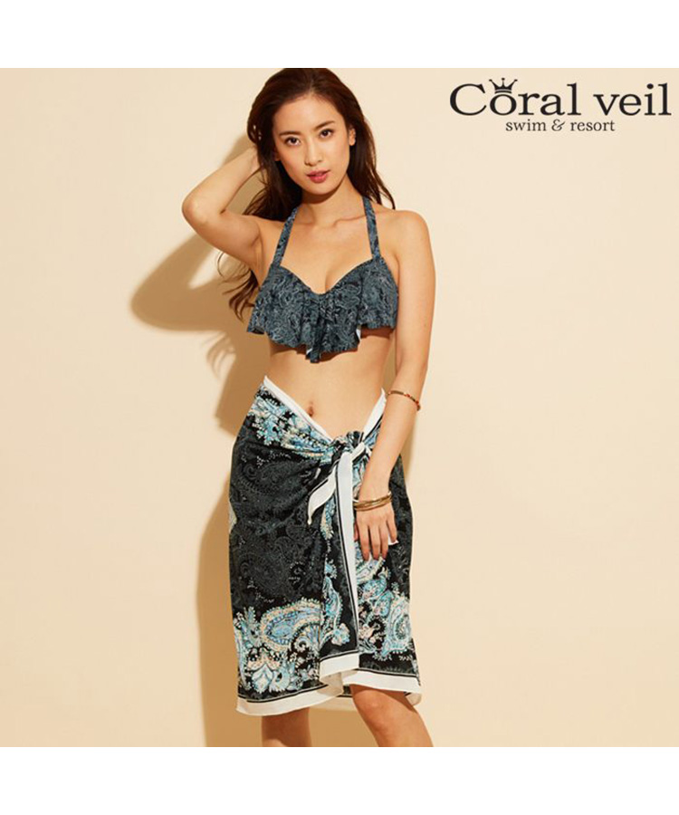 【Coral veil 】Line Paisely ラインペイズリー ワイヤー 3点セット水着 9号/11号