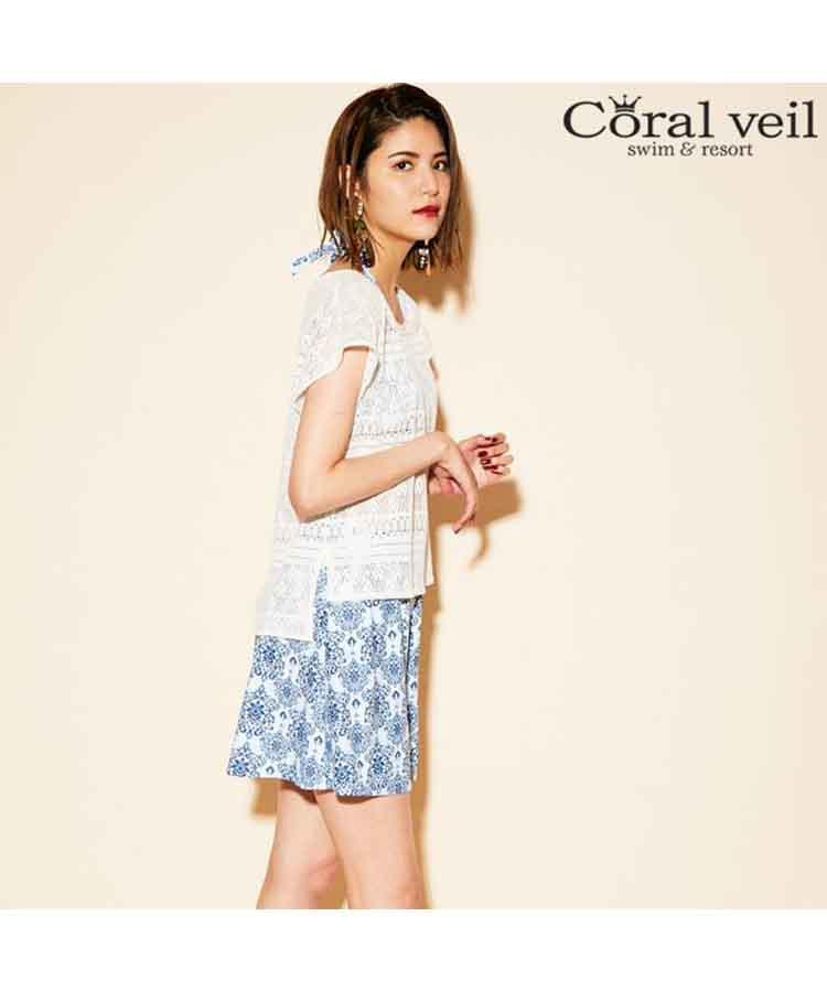 【2019年新作】【Coral veil】Wall Lace×アラベスク 4点セット水着 7号/9号/11号