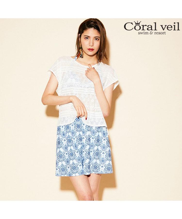 【2019年新作】【Coral veil】Wall Lace×アラベスク 4点セット水着 13号