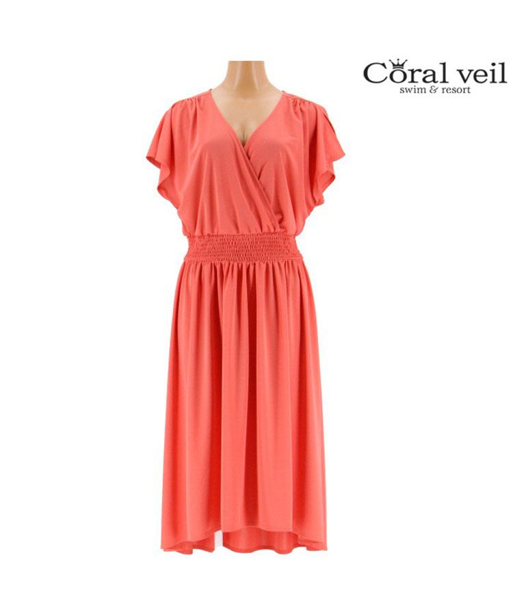 【2019年新作】【Coral veil】Solidスムース 袖付き ワンピース M