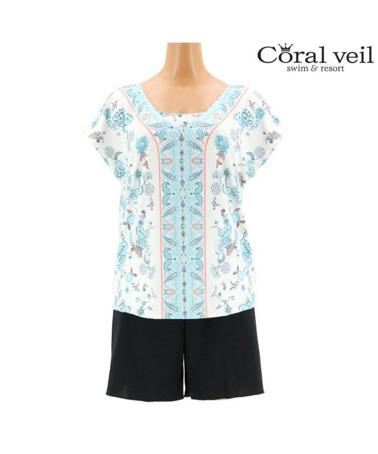 【2019年新作】【Coral veil】Sarasa Paisely タンキニ 4点セット水着 9号/11号