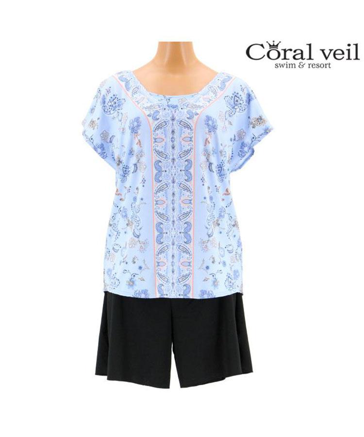 【2019年新作】【Coral veil】Sarasa Paisely タンキニ 4点セット水着 13号