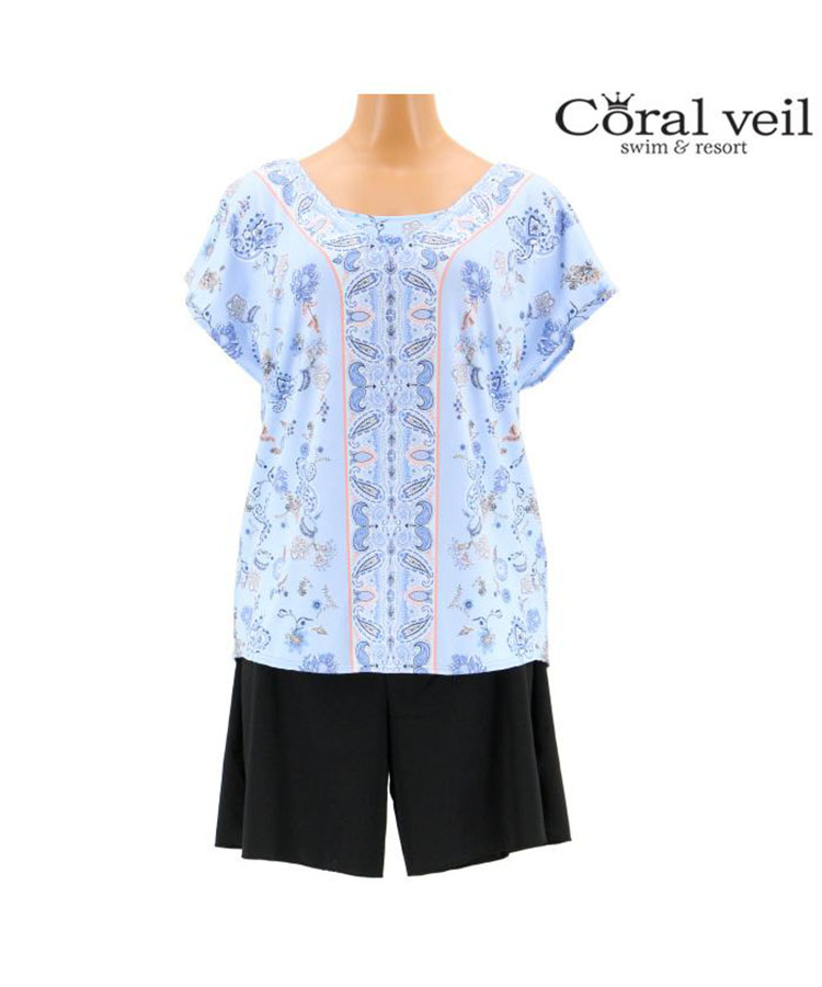 【Coral veil】Sarasa Paisely タンキニ 4点セット水着 13号