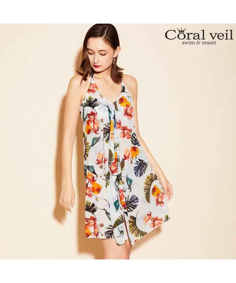 【2019年新作】【Coral veil】トロピカルフラワー パレオワンピ 3点セット水着 9号/11号