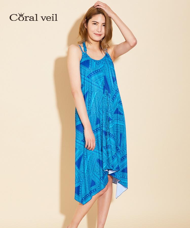 【Coral veil】Ethnic geometric ドレスワンピ 3点セット水着 7号/9号/11号