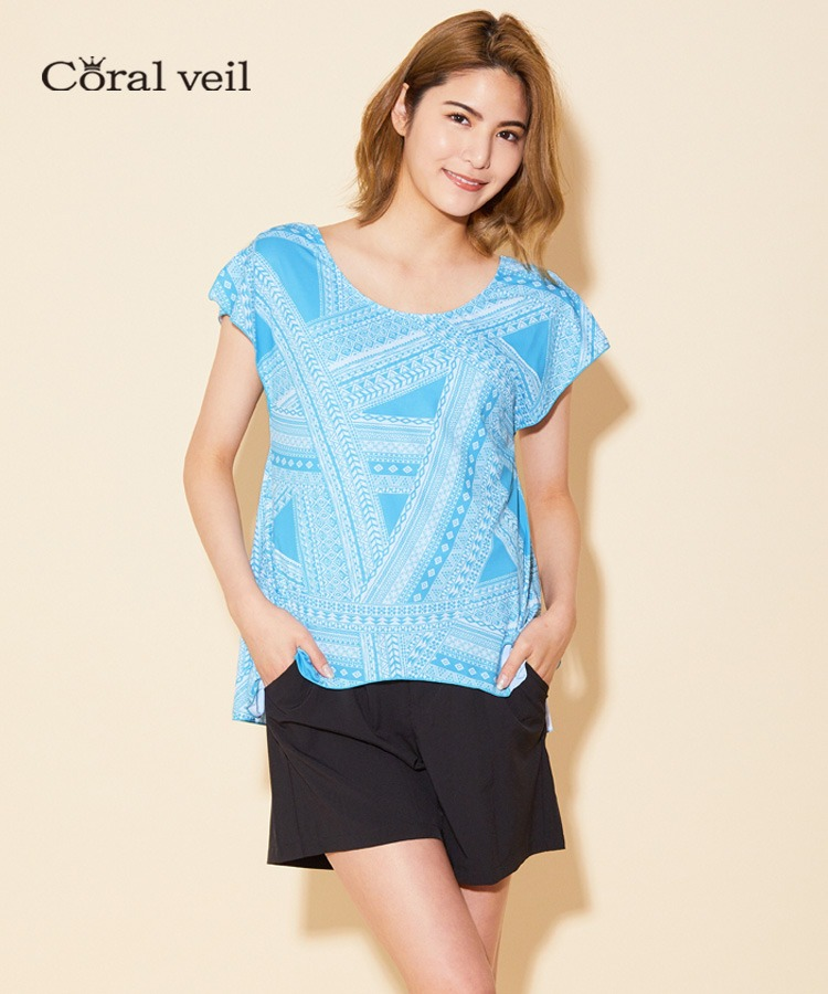 【Coral veil】Ethnic geometric 4点セット水着 9号/11号