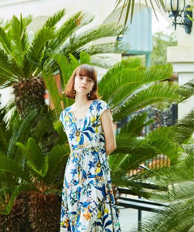 【Coral veil】Botanical Garden ショルダードレス 3点セット水着 7号/9号/11号