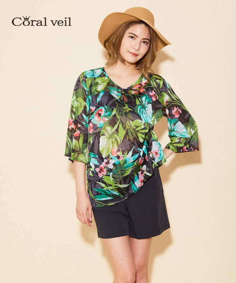 【Coral veil】Clear Botanical チュニック M
